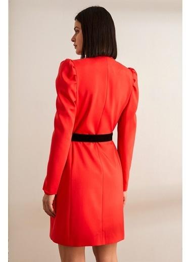 Setre Siyah Kemerli Karpuz Kol Kruvaze Ceket Elbise Kırmızı